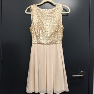 Arden B Gold Sequined, Open Back Dress
